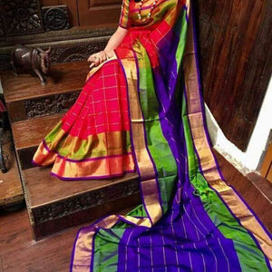 Uppada red with green and blue handwoven checks silk saree with special border - Uppada special border silk saree