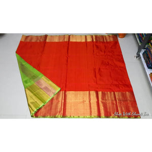 Uppada red with green handwoven pure silk saree with wide golden zari border - Uppada Plain Silk Saree