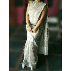 Uppada silver handwoven full tissue saree - Uppada Tissue Saree