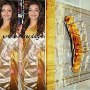 Uppada silver with gold handwoven full tissue saree - Uppada Tissue Saree