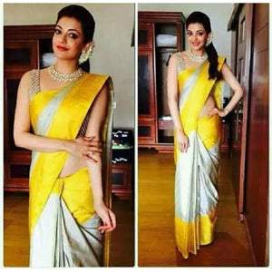 Uppada silver with yellow handwoven full tissue saree - Uppada Tissue Saree