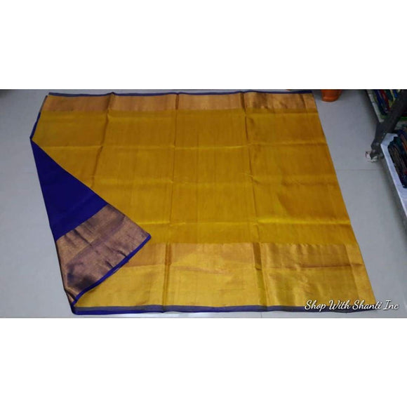 Uppada yellow with blue handwoven pure silk saree with wide golden zari border - Uppada Plain Silk Saree