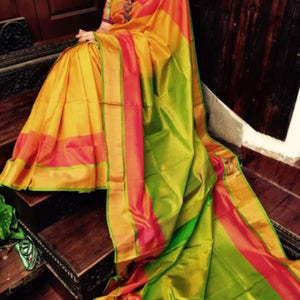 Uppada yellow with green and pink handwoven silk saree with special border - Uppada special border silk saree