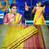 Uppada yellow with pink handwoven full tissue saree - Uppada Tissue Saree