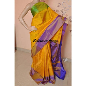 Uppada yellow with purple and green border handwoven full tissue saree - Uppada Tissue Saree