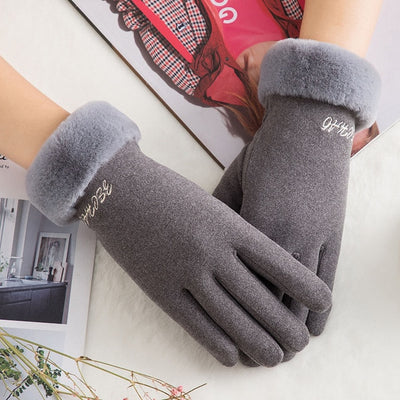 WOMENS LACE WARM WINTER GLOVES