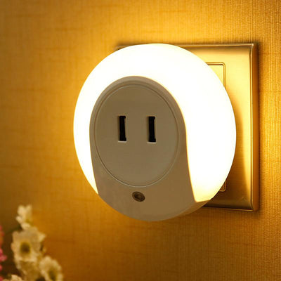 Intelligent sensor LED night light with 2 phone chargers