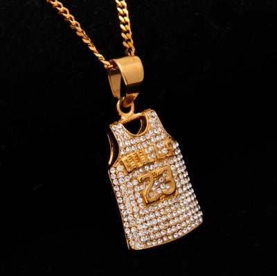 Mens Bulls 23 Jersey Pendant Necklace Gold