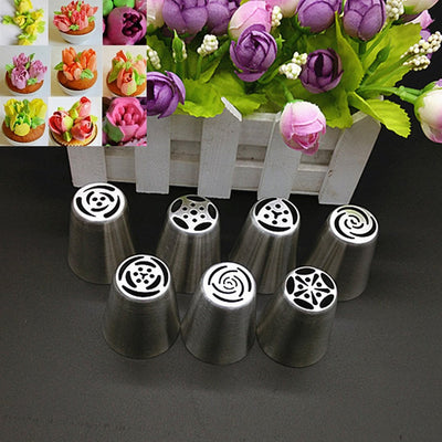 Stainless Steel Pastry Nozzles - Russian Tulip Icing Tool (7pcs)