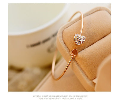 Rose Gold  Crystal  Heart Bow  Bracelet
