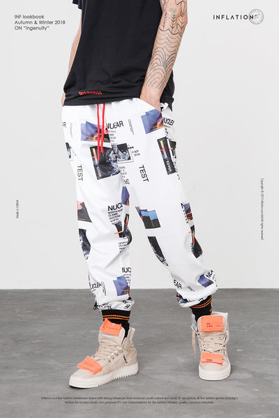 INFLATION Harem Pants Graphic Print Pencil Pants