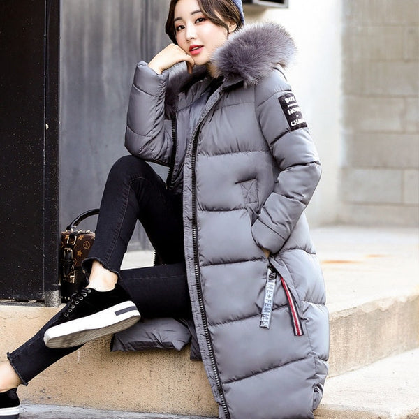 b5680eb2493 ... 2018 Winter Women s Down Parkas Winter Jacket Big Fur Thick Slim Long  Coat Fashion Zipper Hooded ...