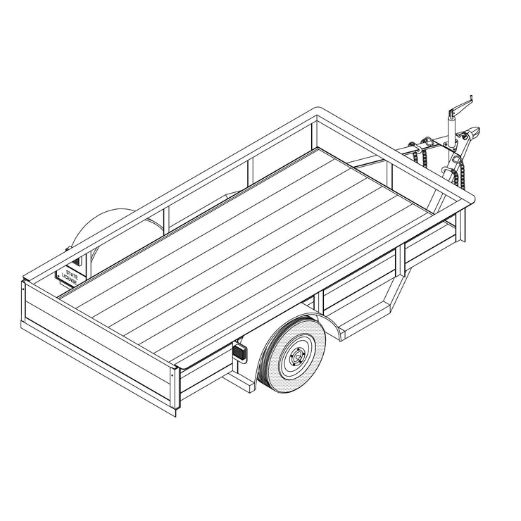 Trailer Plan - 4' x 8' Single Axle 2K or 3.5K Utility Trailer Plan - Model 1108