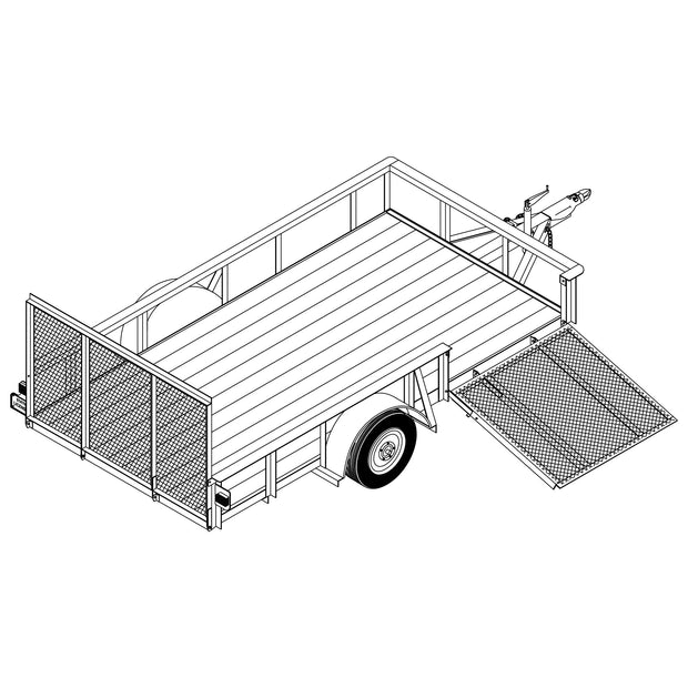 "Trailer Plan - 6'6"" x 12' 3.5K or 5.2K Utility Trailer Plan - Model 1112"