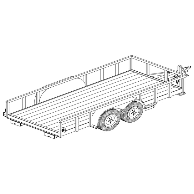 Trailer Plan - 6' x 14' Tandem Axle 7K Utility Lowboy Trailer Plan - Model 1214
