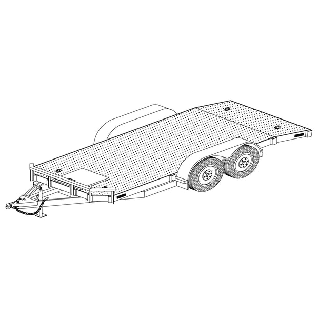 Trailer Plan - 8' x 18' Tandem Axle 7K or 10.4K Utility Car Hauler HD Trailer Plan - Model 1218