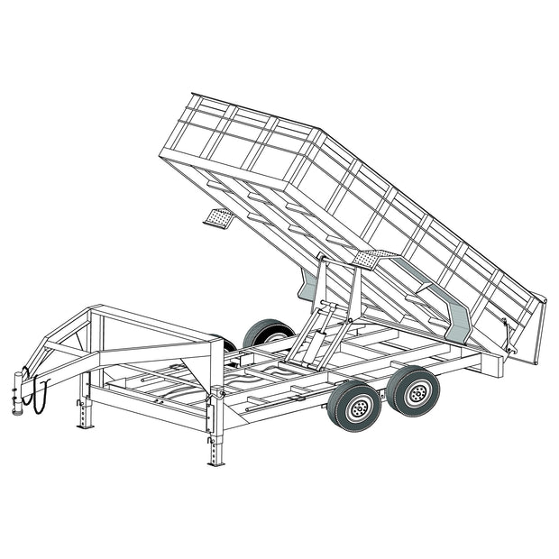 "Trailer Plan - 6'4"" 14' 14K Gooseneck Dump Trailer Plan - Model 14HDGN"