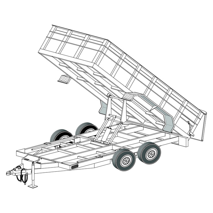 "Trailer Plan - 6'4"" x 14' 14K Dump Trailer Plan - Model 14HD"