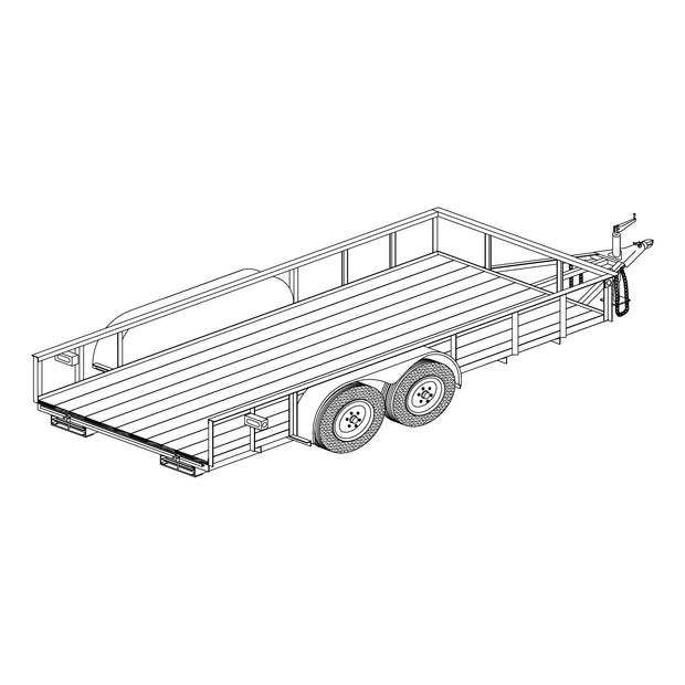"Trailer Plan - 16' x 82"" Tandem Axle 14K Utility Lowboy Trailer DIY Master Plan - Model 1682BLB"