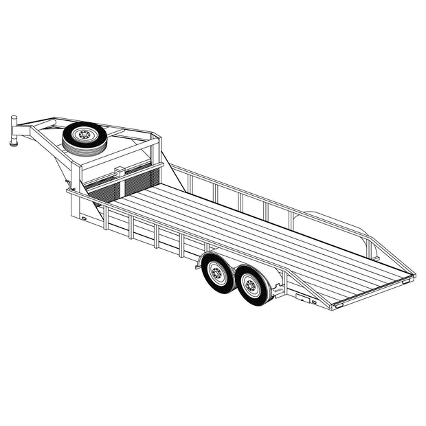 "Trailer Plan - 6'6"" x 20' Tandem Axle 12K Gooseneck Lowboy Trailer Plan - Model 2220"