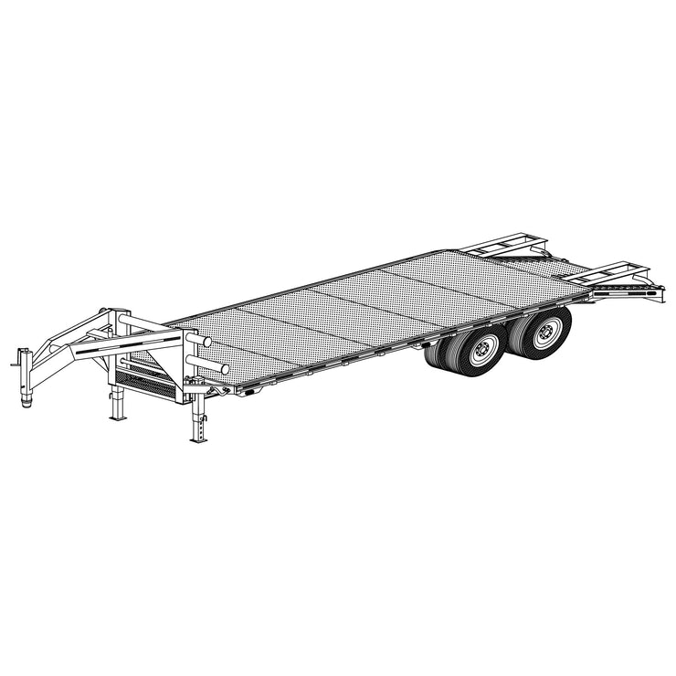 "Trailer Plan - 102"" x 25' Tandem Axle 20K Gooseneck Flatdeck Trailer Plan - Model 5225"