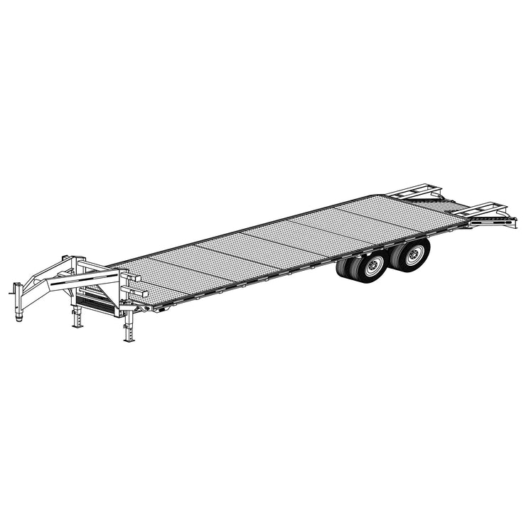 "Trailer Plan - 102"" x 32' Dual Tandem 24K Flatbed Deckover Trailer Plan - Model 5232"