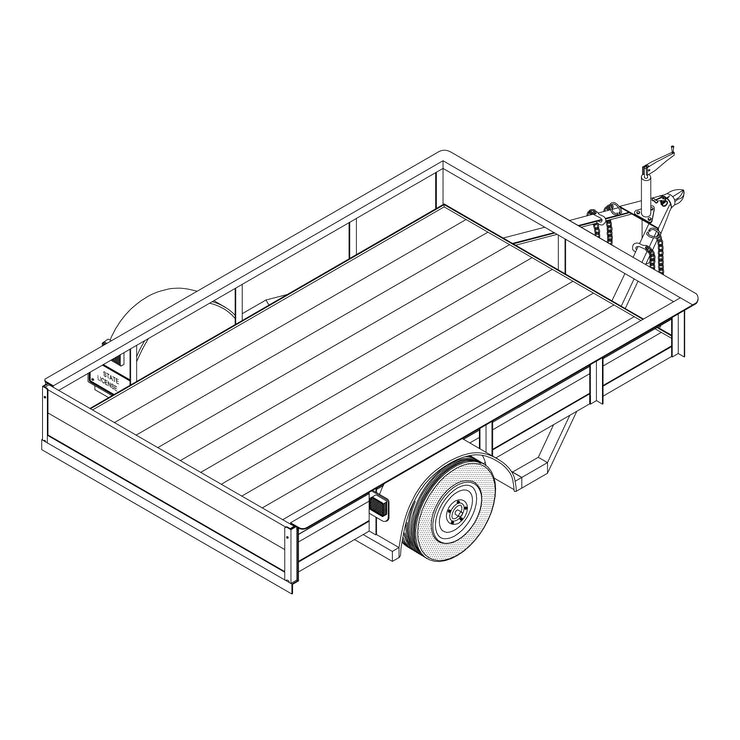 Trailer Plan - 5' x 8' Single Axle 2K or 3.5K Utility Trailer Plan - Model T1108