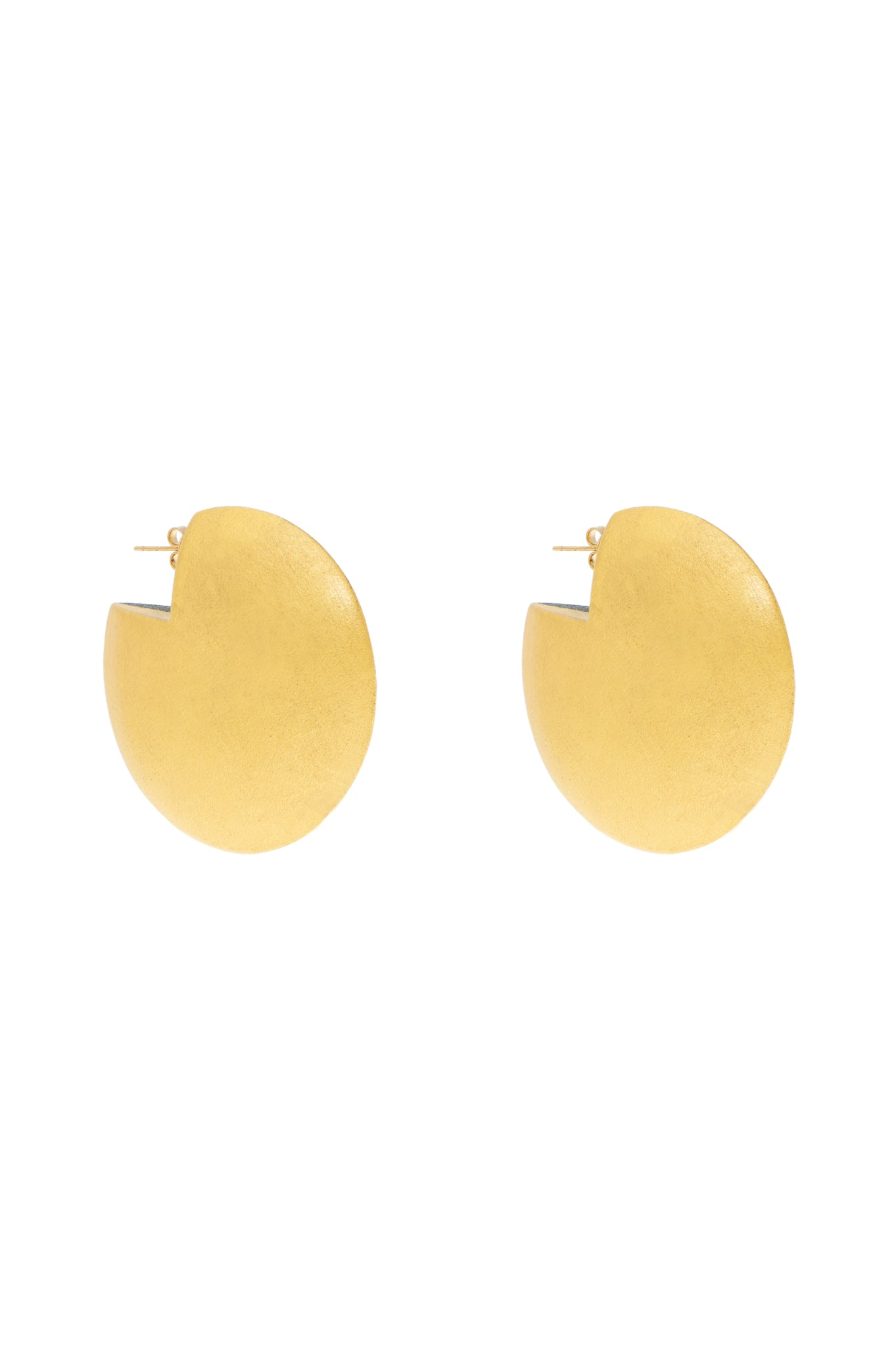 GOLD DISK WOOD EARRINGS