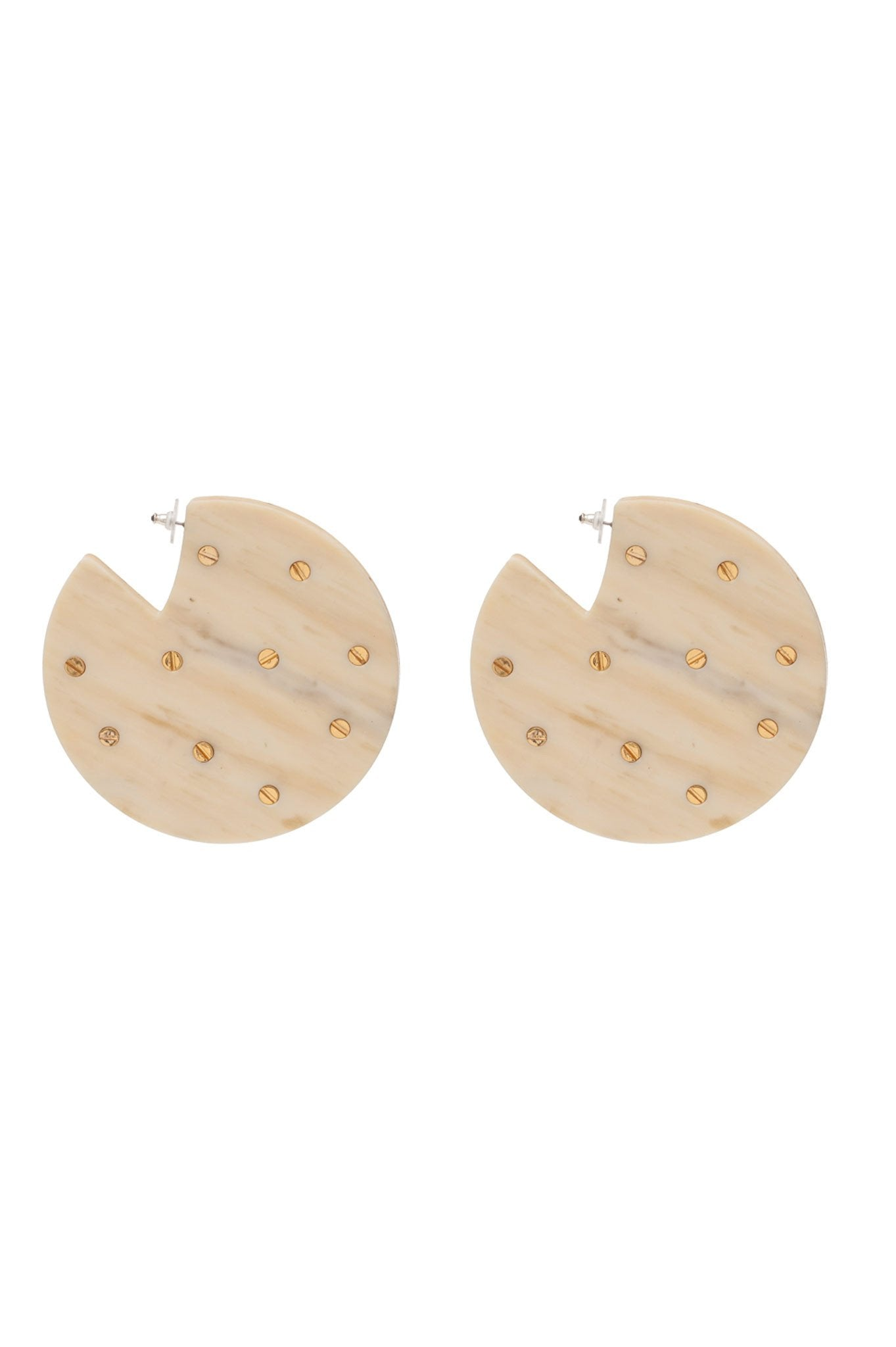 BONE CIRCULAR EARRINGS