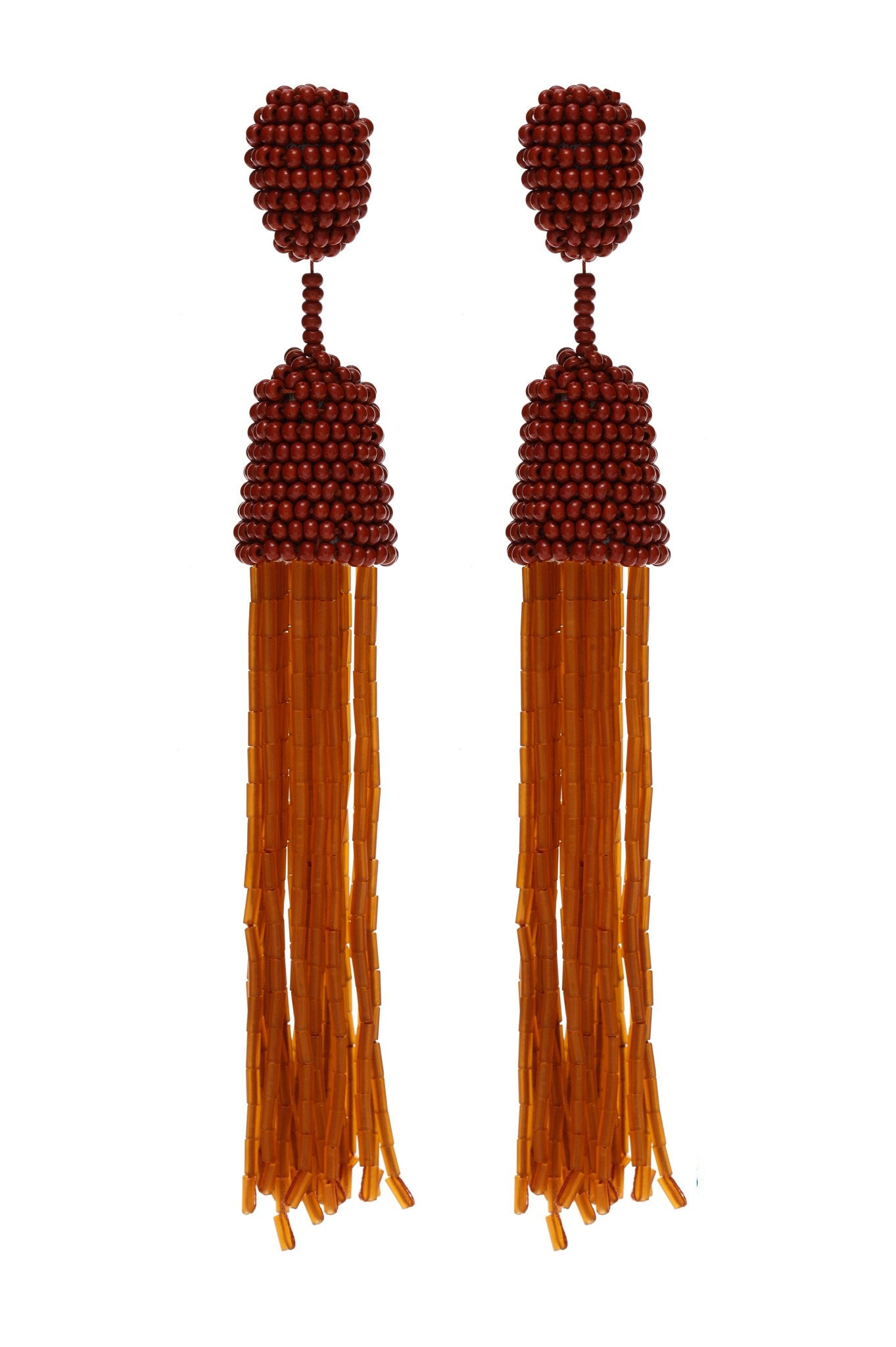 Brown and Caramel Beads Earrings