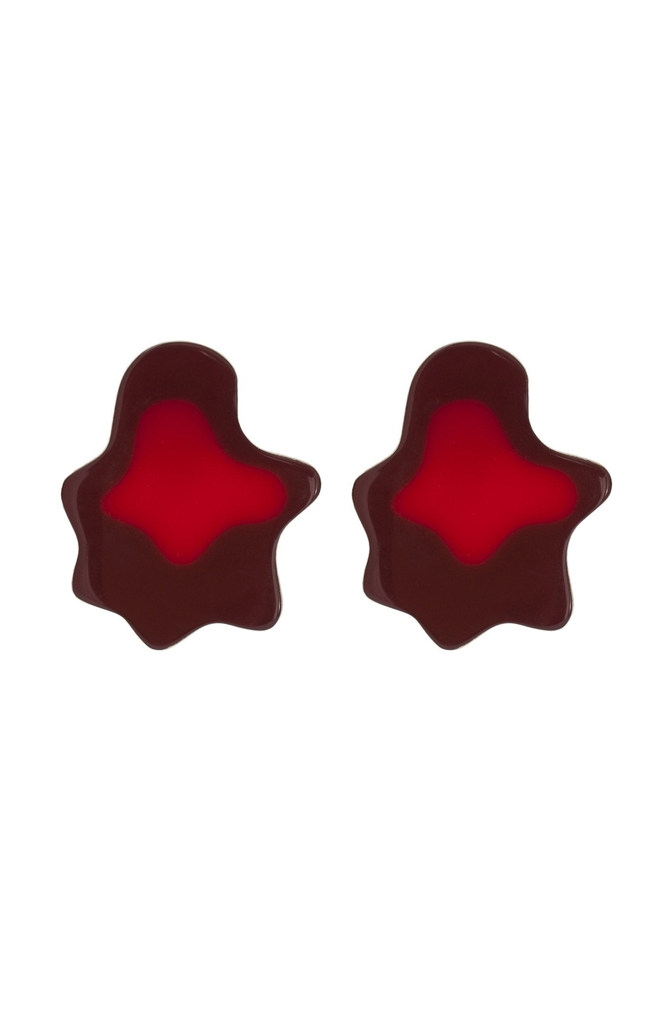 Red Topographic Earrings