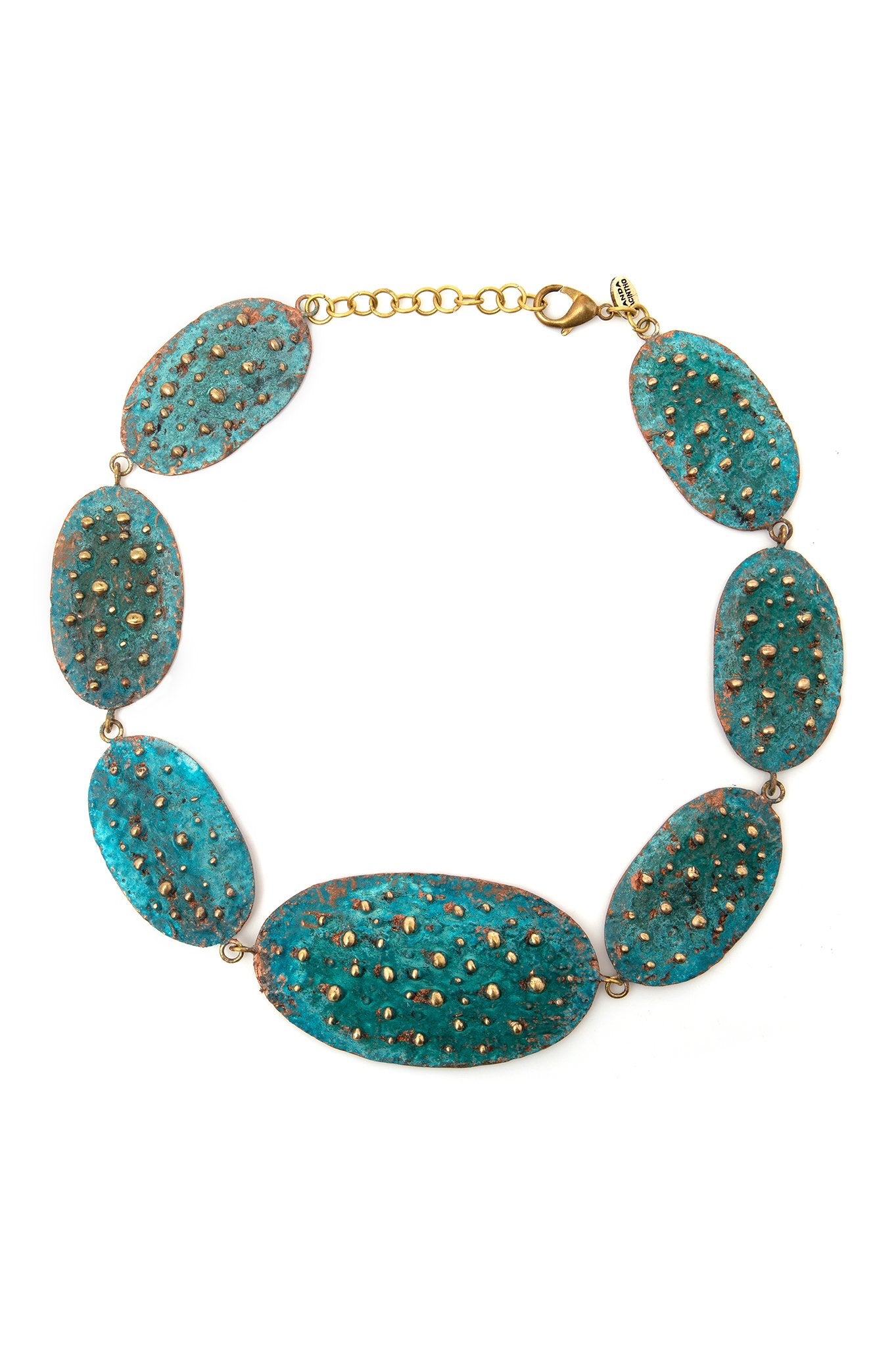 GREEN BIG OVAL PATINA NECKLACE