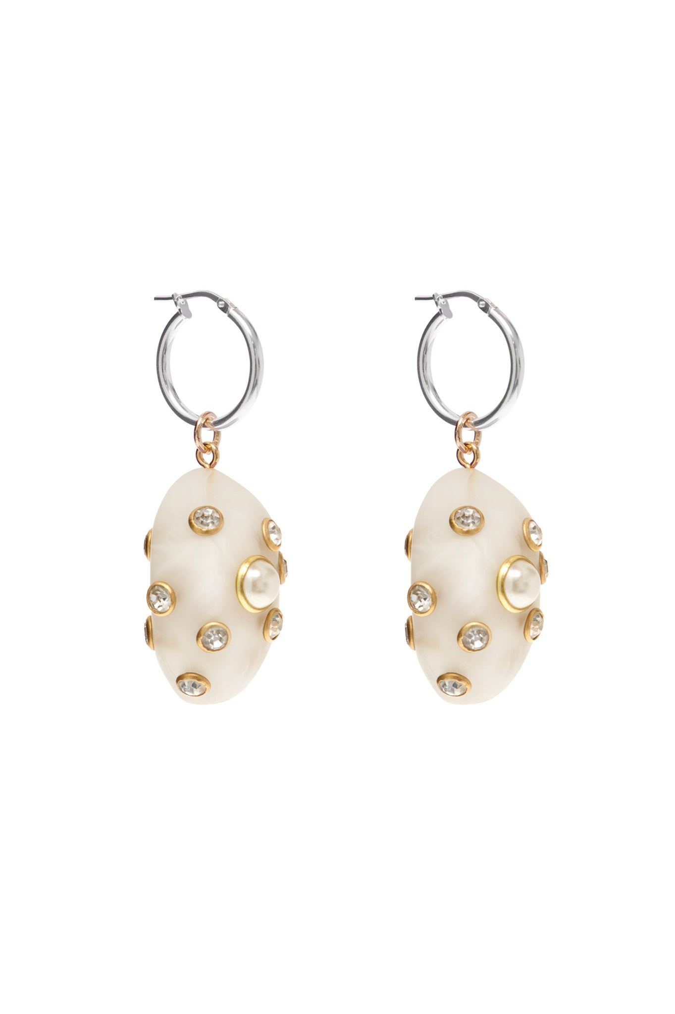 WHITE MARBLED SMALL ARTSY EARRINGS