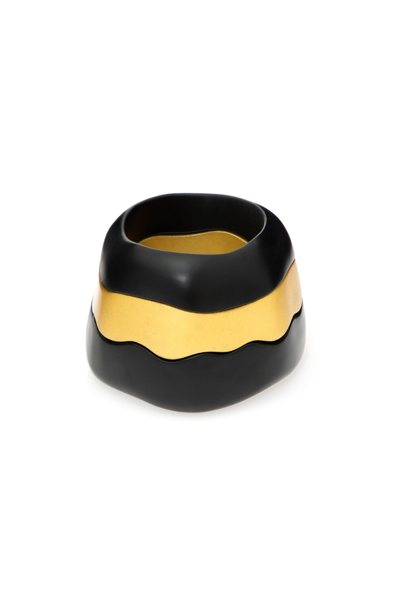 BLACK AND GOLD WAVE WOOD BRACELETS