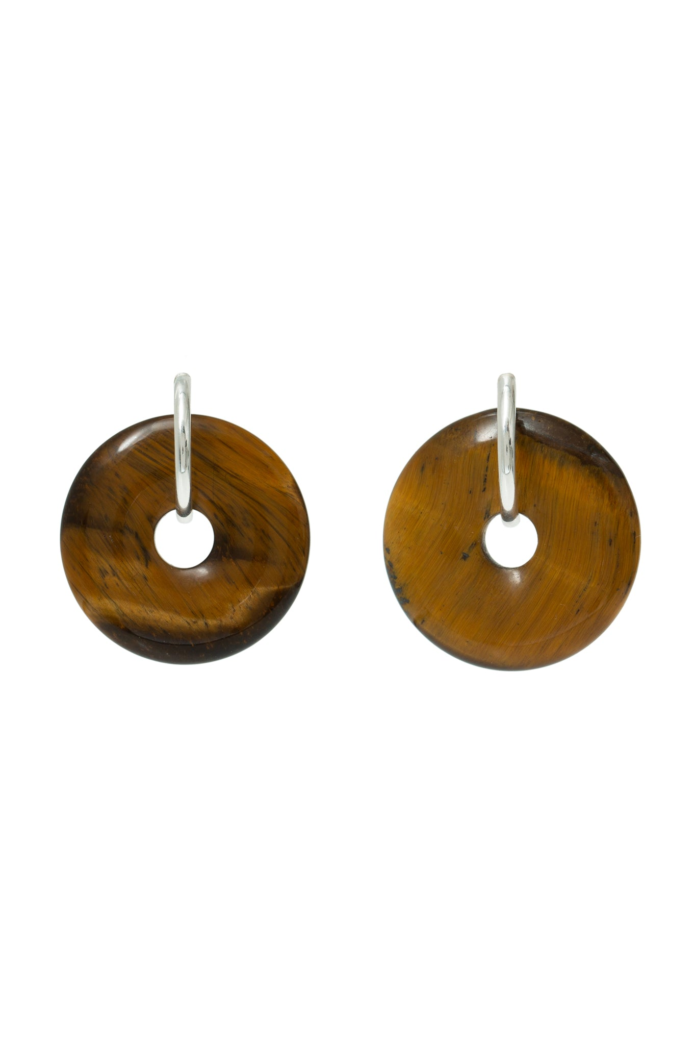 TIGER EYE SMALL SATURN EARRINGS