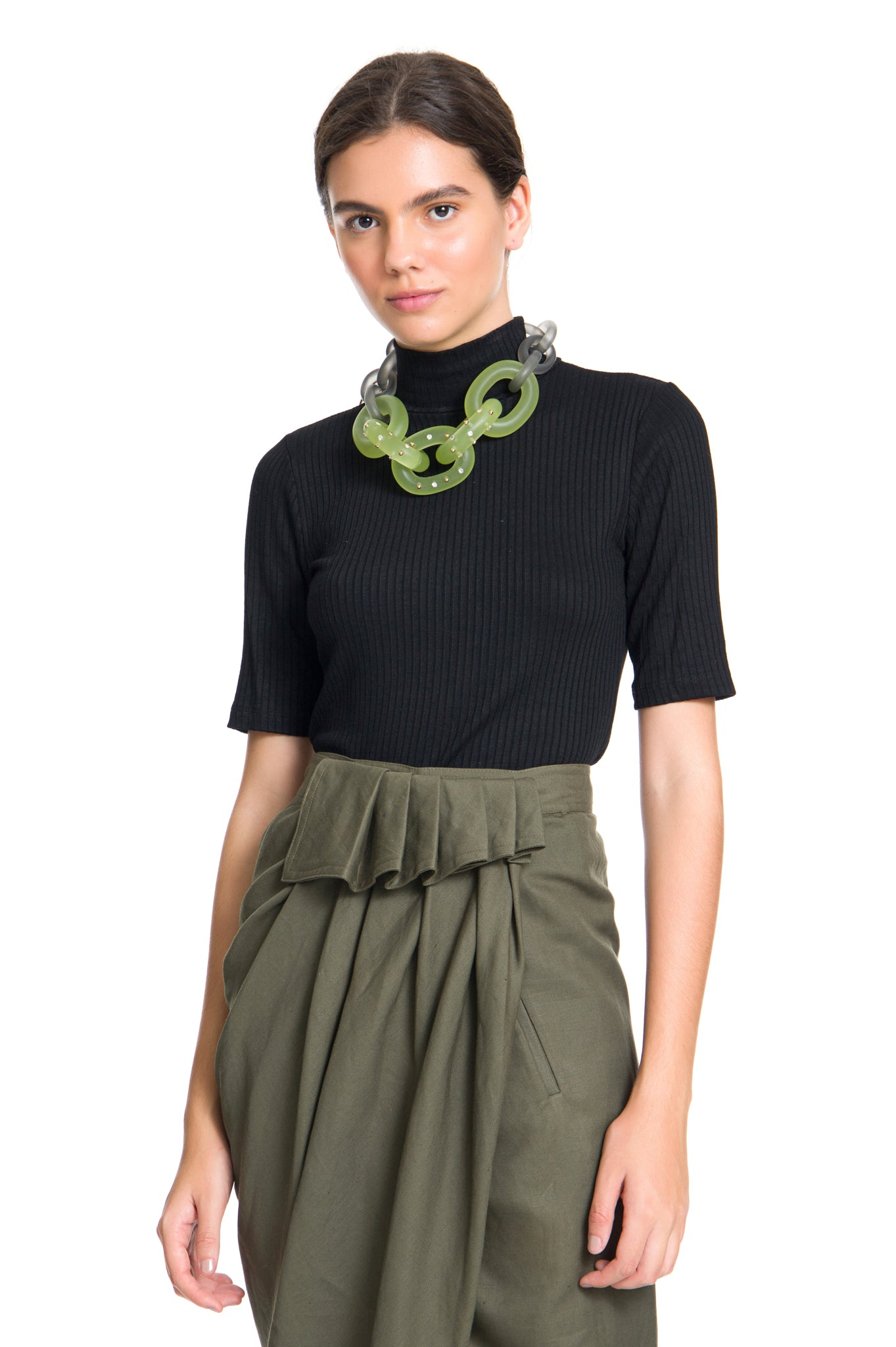 DOUBLE CHAIN CHOKER GREEN AND GREY