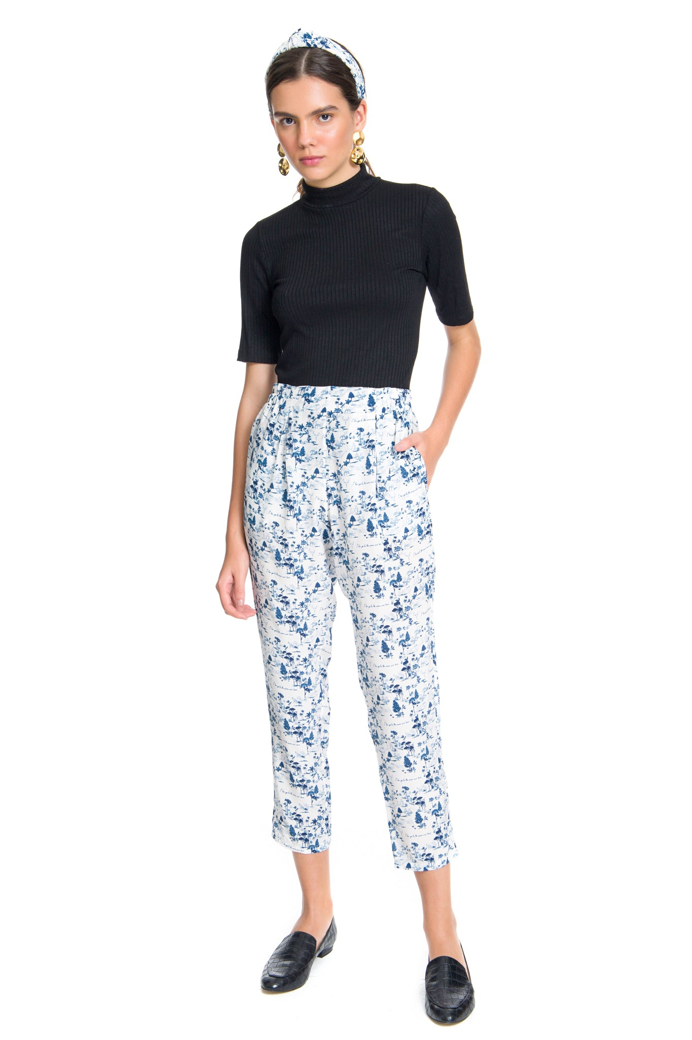 TOILE BLUE ELASTIC TROUSERS