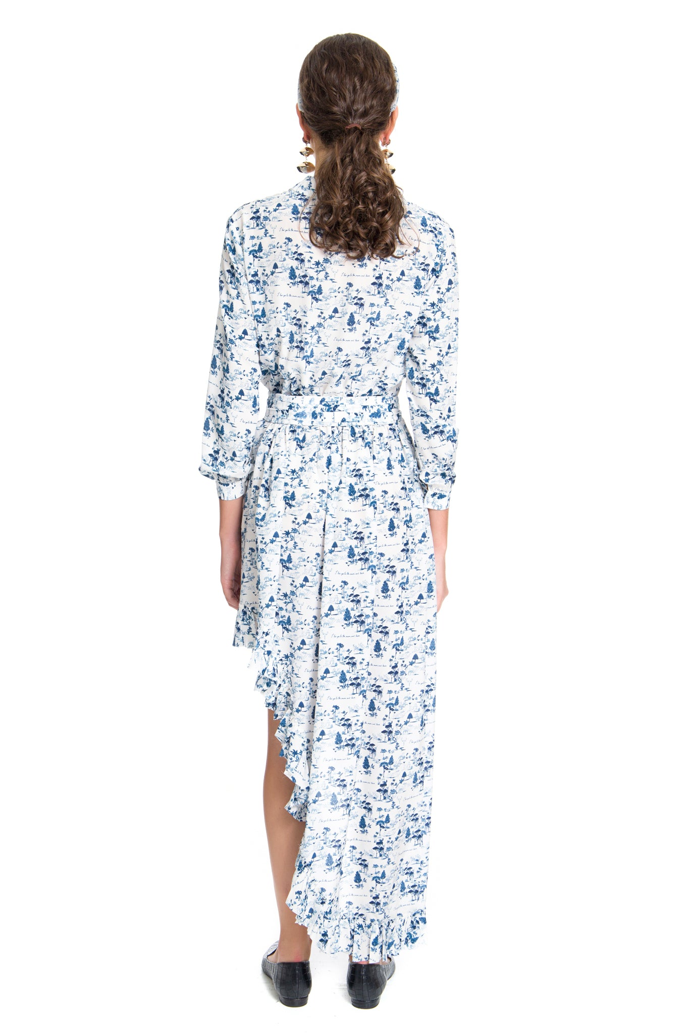 TOILE BLUE FRILL DRESS