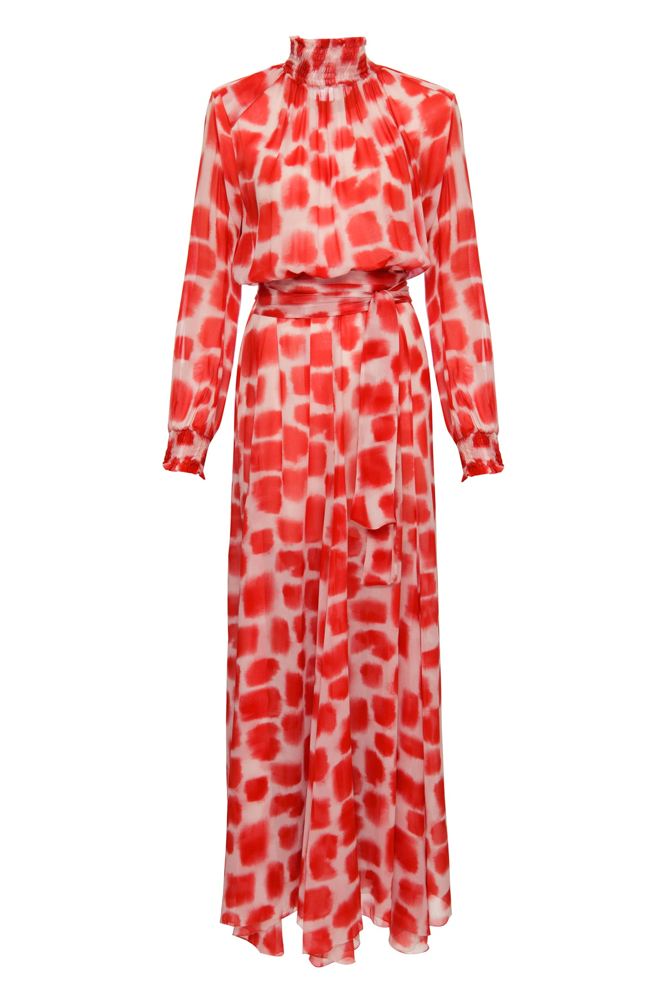 red brush strokes daniela dress