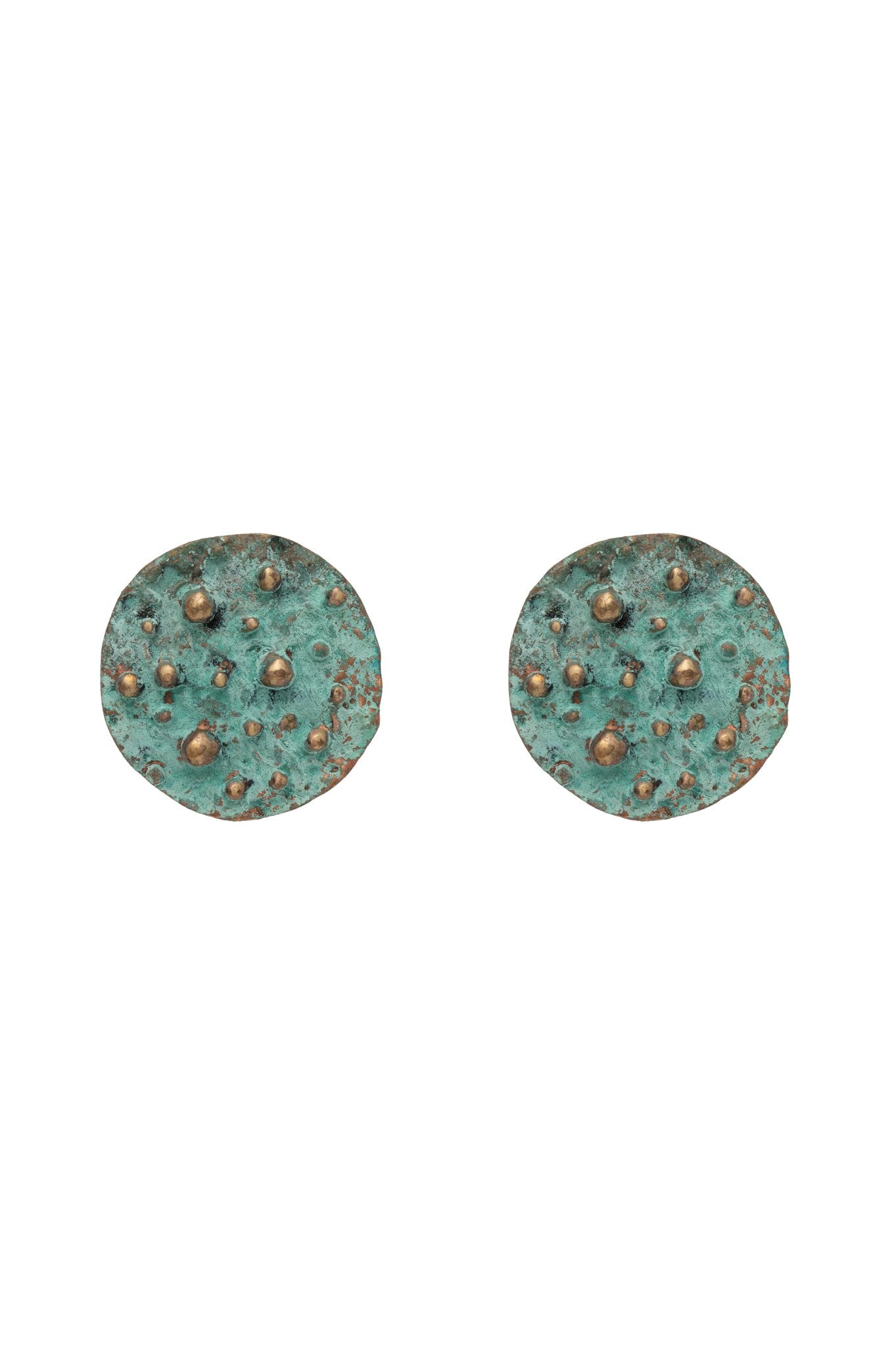 GREEN PATINA COIN EARRINGS