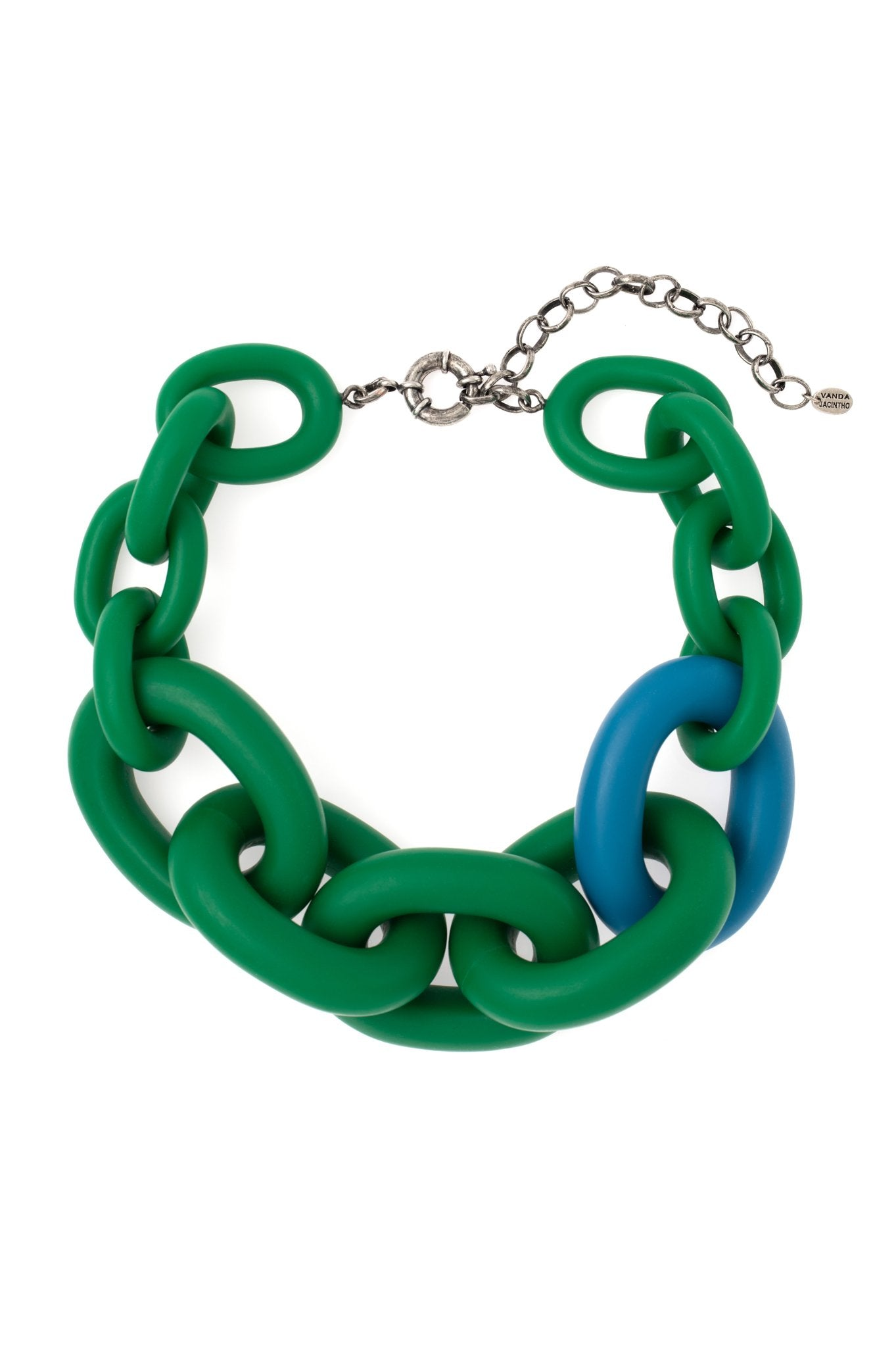 GREEN AND BLUE CHAIN CHOKER