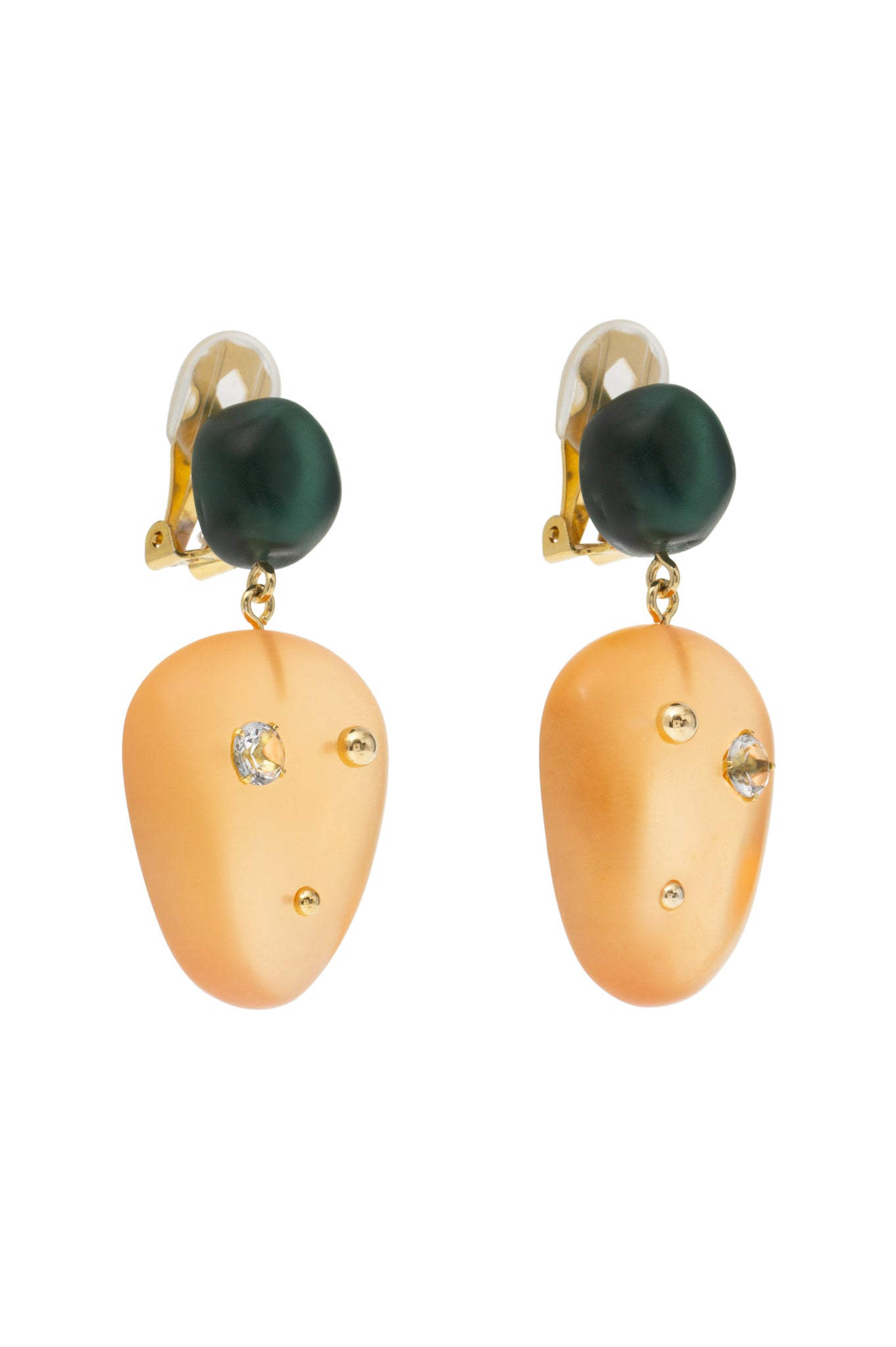 GREEN/ORANGE CAJU EARRINGS