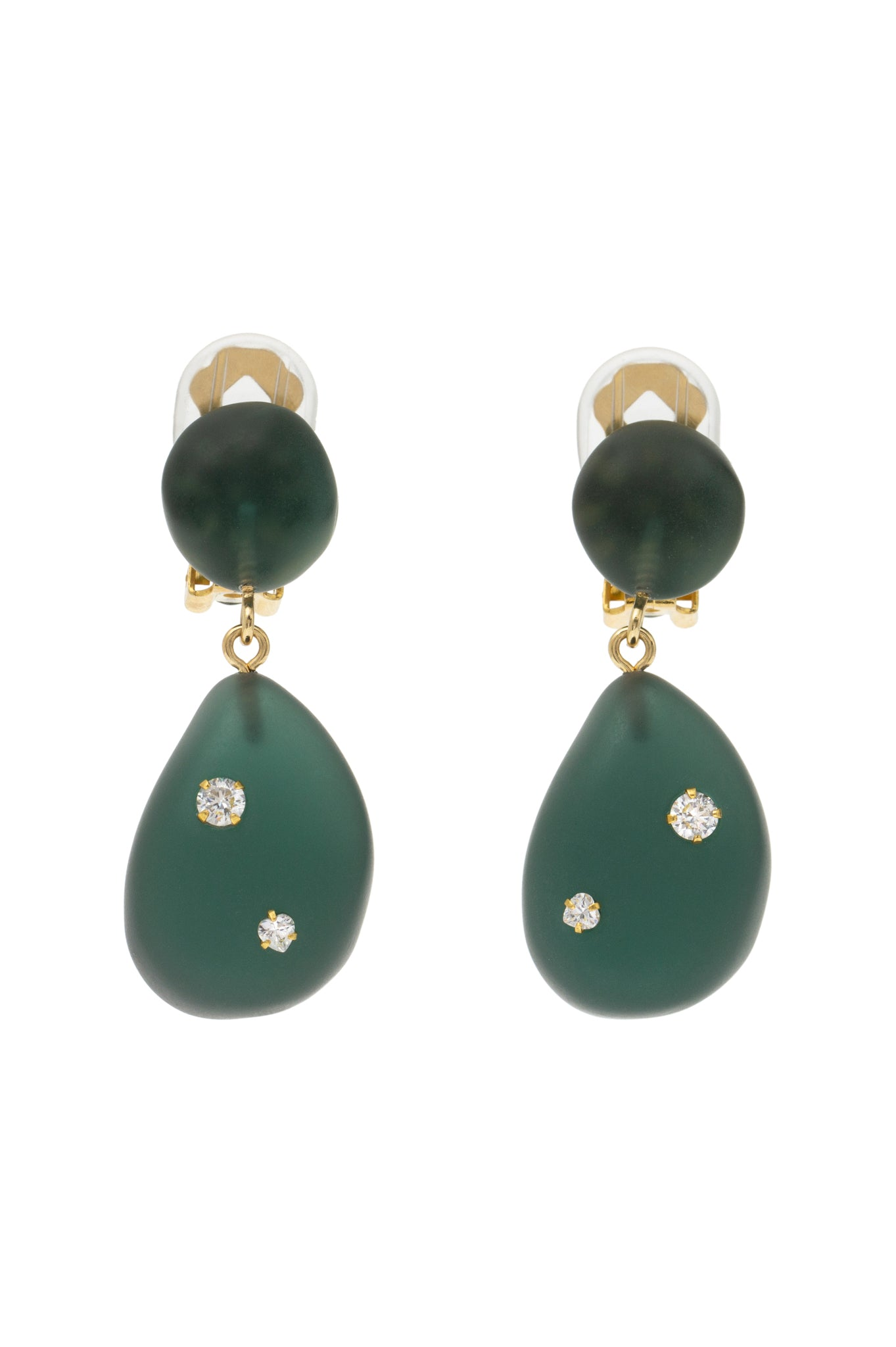 DARK GREEN ORGANIC DOUBLE EARRINGS