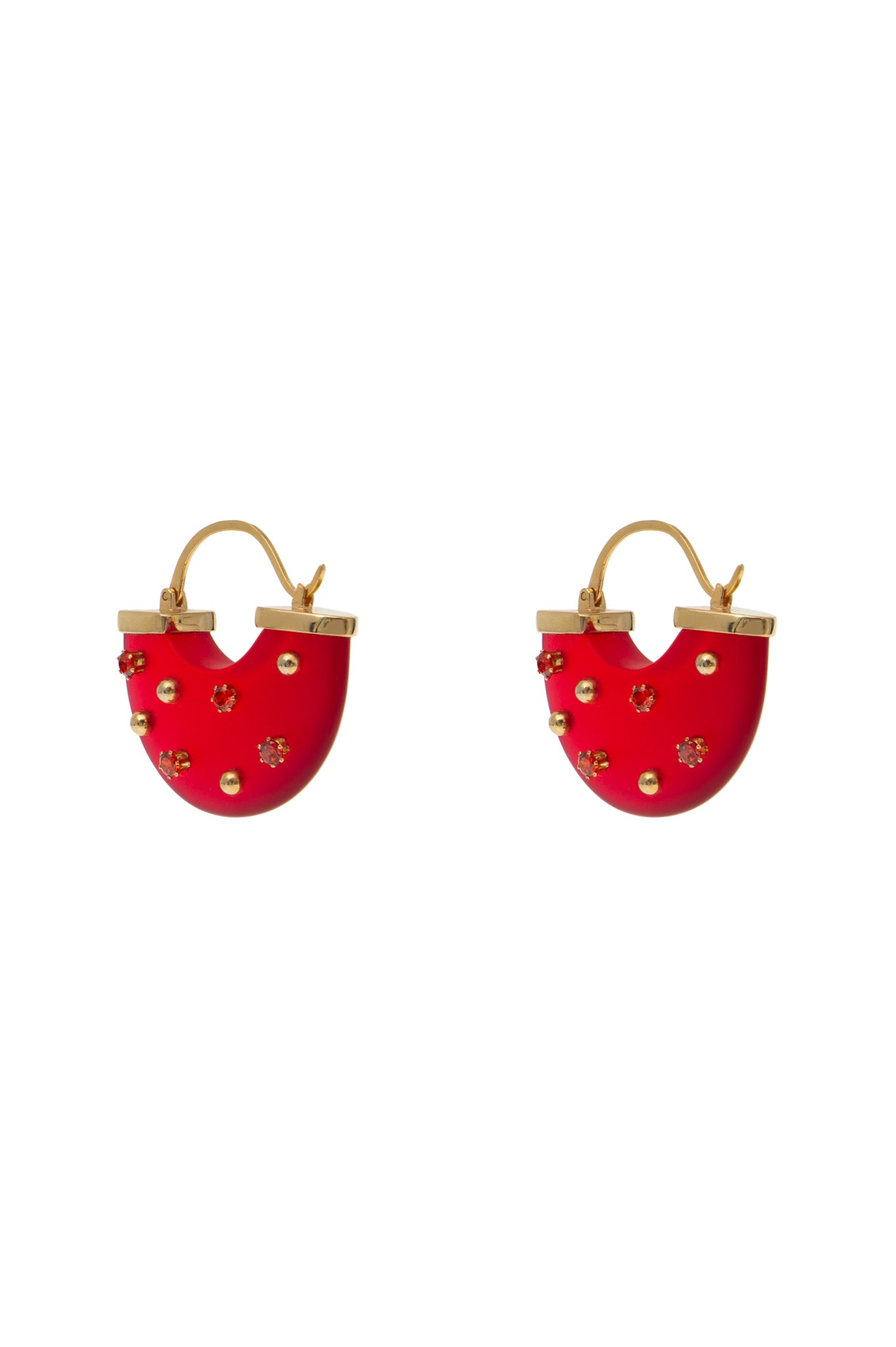HALF MOON EARRING RED