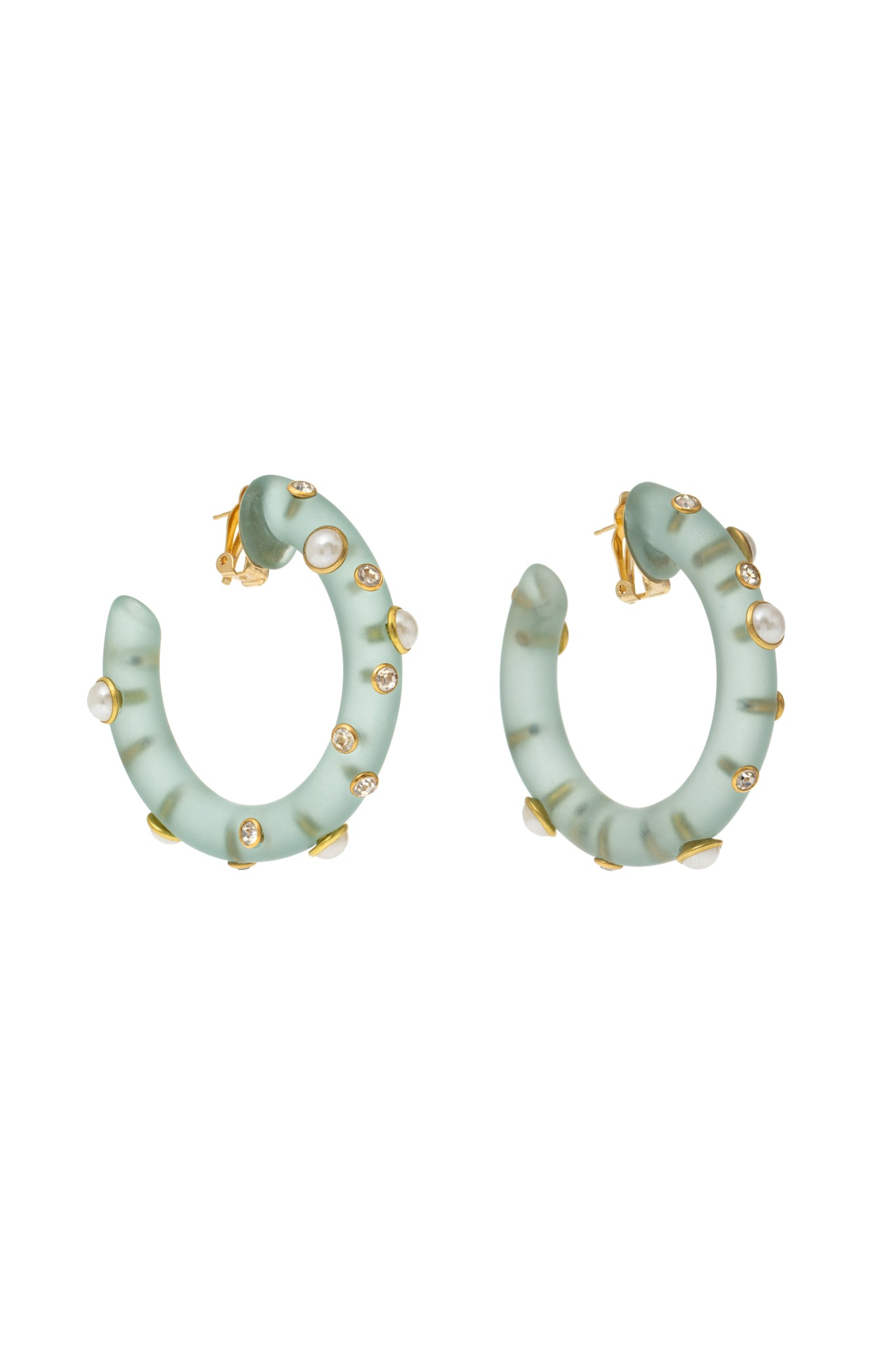 LIGHT GREEN HOOP EARRINGS WITH CRYSTALS