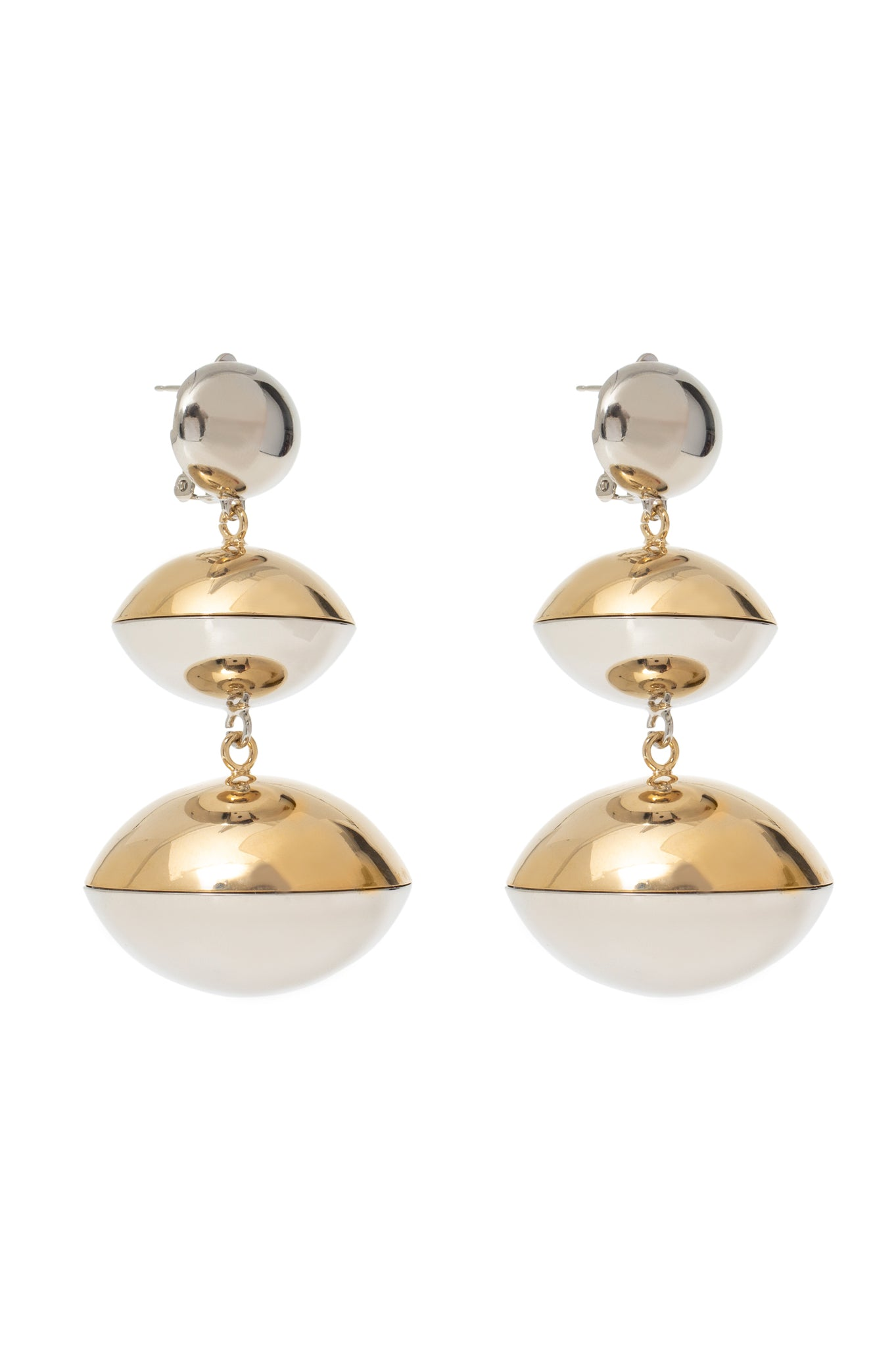 GOLD/SILVER 3 BALL EARRINGS