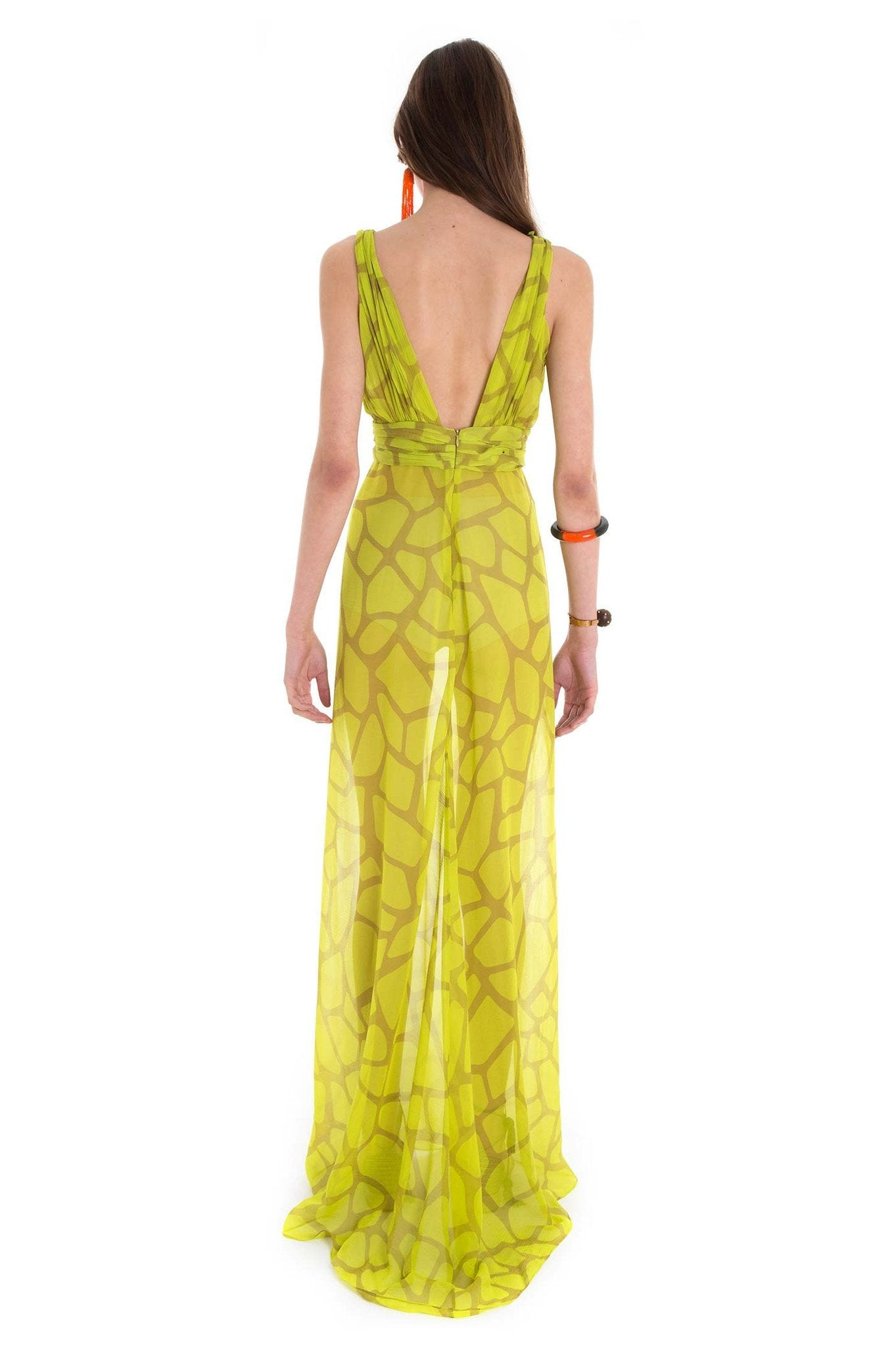 GREENISH GIRAFFE LONG DRESS