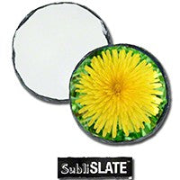 "4"" round gloss finish photo slate coaster"