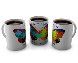 Autism Awareness Coffee mug Design Butterfly