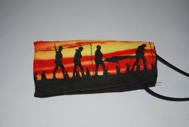 Setting Sun Soldier Silhouette Barrel cover
